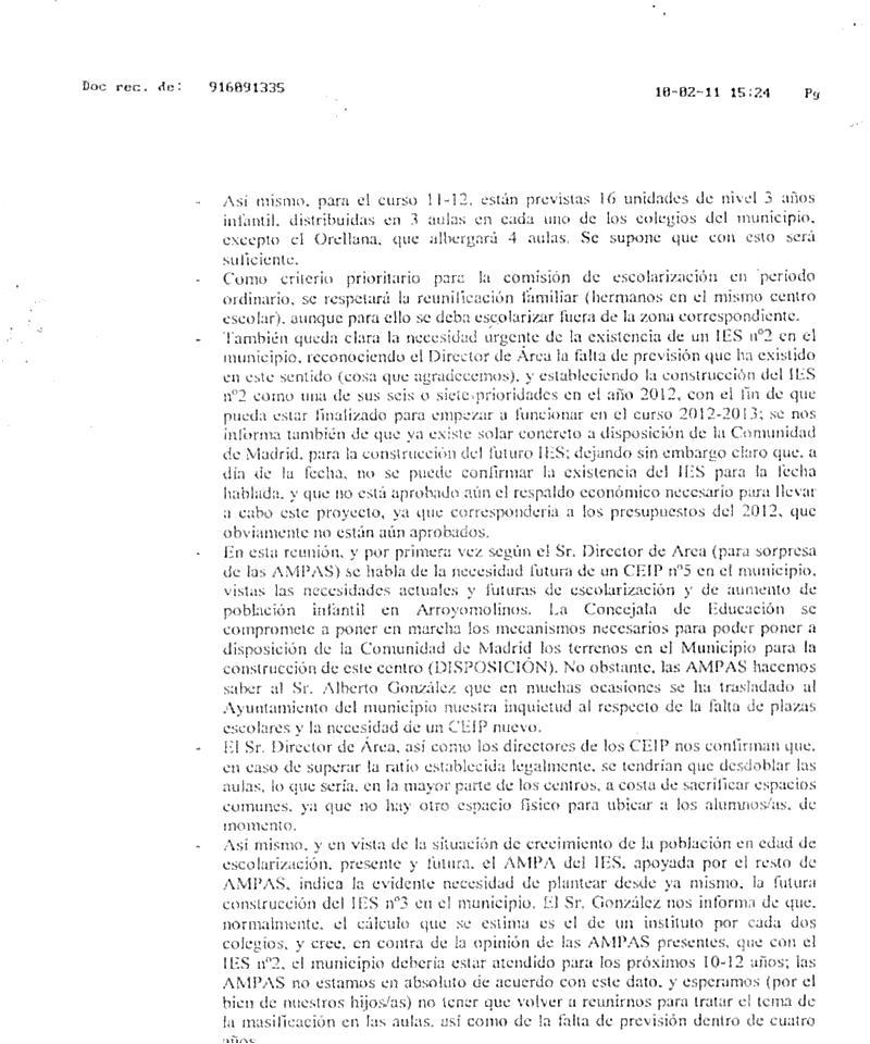 ampa colegio francisco de orellana carta director rea sur On comunidad de madrid rea
