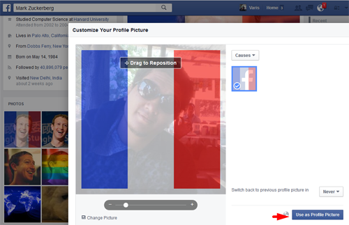 Cara Membuat Foto Profil Facebook Dengan Background Bendera Perancis 2