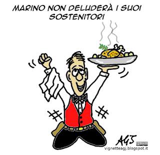 Marino, dimissioni, vignetta satira