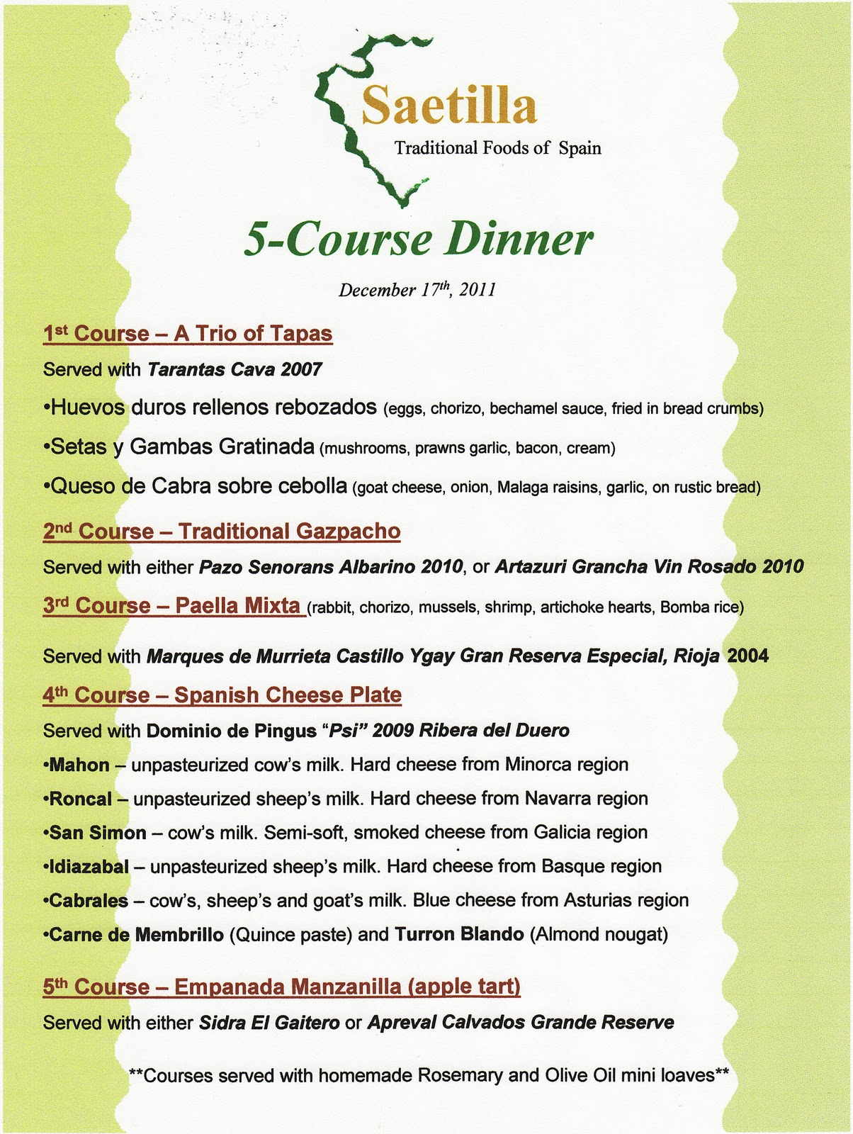 3 course meal menu templates
