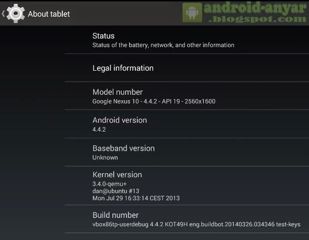 About Tablet: Android 4.4.2 KitKat untuk Komputer