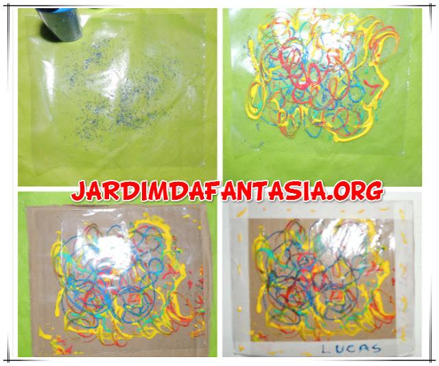 Artes Visuais Pintura com cola colorida