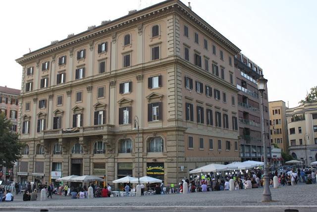Some street buildings nearby Porta del Popolo in Rome, Italy