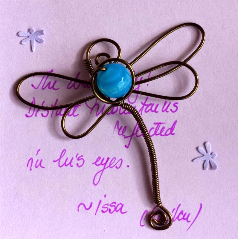 Art Charm Exchange (Bead of Courage): Soar! Dragonflies: wirework, copper, facetted agate, ooak pendant :: All Pretty Things