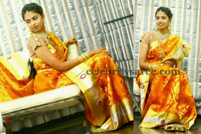 Bride in Orangish Gold Silk Saree