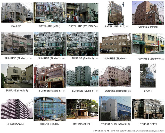 ภาพบริษัท Sunrise, Satelight, Studio Ghibli, Studio Deen, Shaft และอื่นๆ