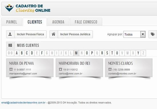 Tela principal do Cadastro de Clientes Online
