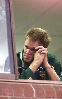 Shaun Pollock, the South African Captain , after his team got eliminated due to a dramatic tie