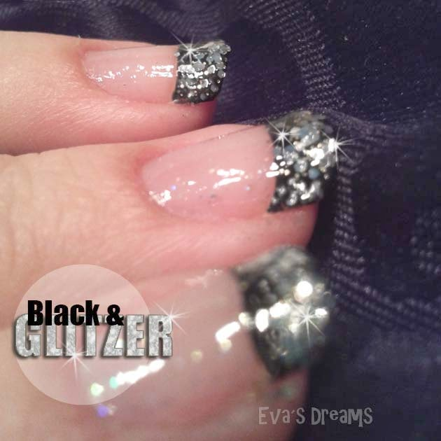 Nails of the week - Nail art - Black & Glitzer French