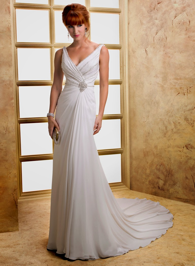 Elegantes Chiffon Brautkleid, Hochzeitskleid fliessend rückenfrei.