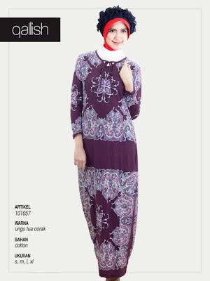 Produk Qallish Kaos Cardigan Koleksi Gamis Muslimah Ungu Tua Corak