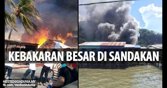Kebakaran Besar di Sandakan 4 Rumah dan Taska Musnah (3 Foto)