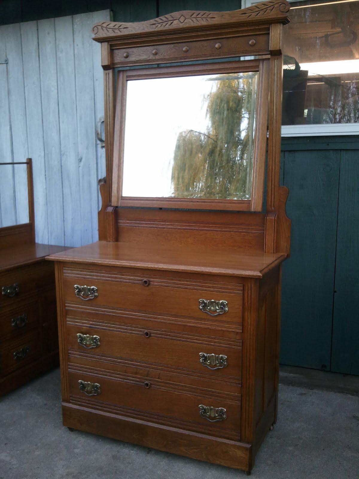John Mark Power Antiques Conservator Oak Bedroom Set Ca 1900