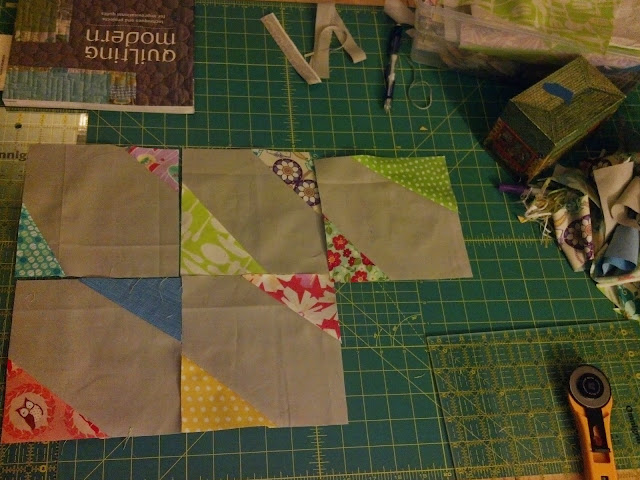 quilting modern stitch and flip triangles