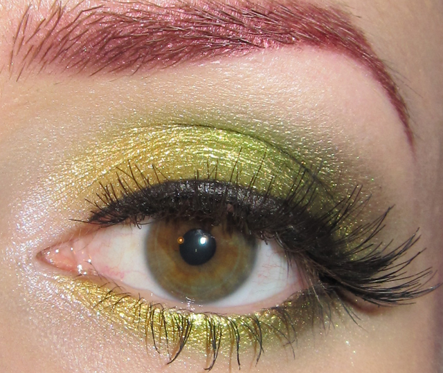 Glitter Is My Crack Gold Yellow Lime And Green Eye Makeup Look