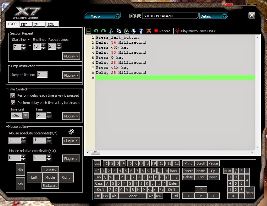 cara setting mouse macro x7 type f7