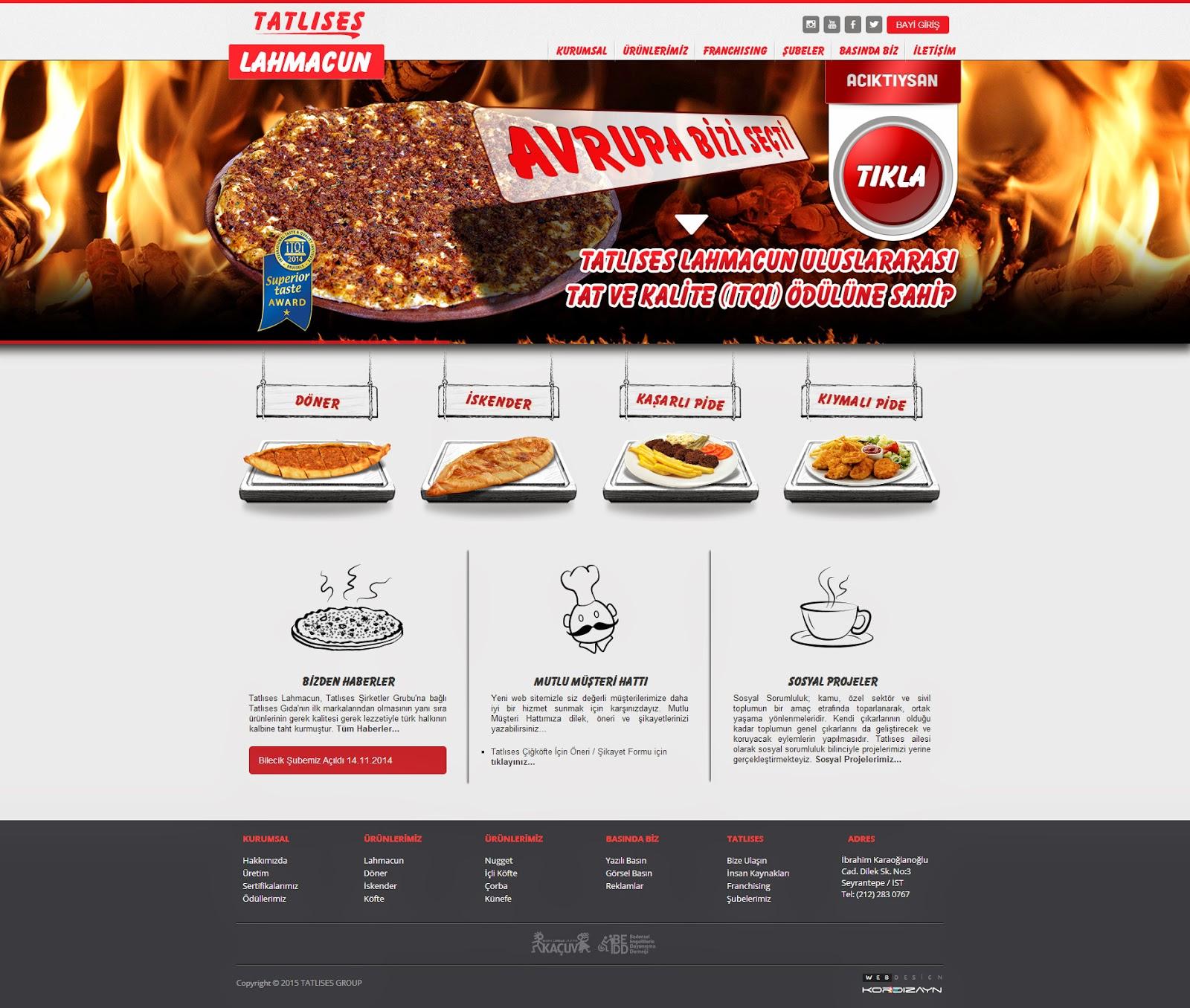 Tatlıses Lahmacun Web Tasarım - AnaSayfa