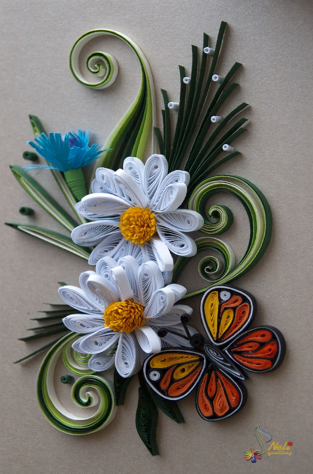 Neli quilling art quilling cards flowers and butterfly for Quilling paper art