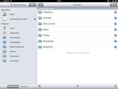iFile toont inhoud iPod