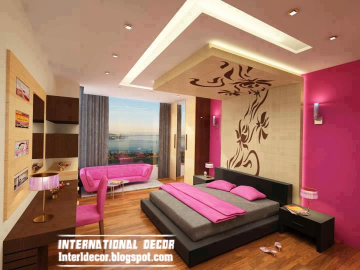 contemporary bedroom design ideas with new ceiling and pink paint  scheme Contemporary designs false decorations