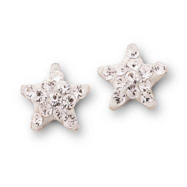 Crystal Star Stud Earrings Silver