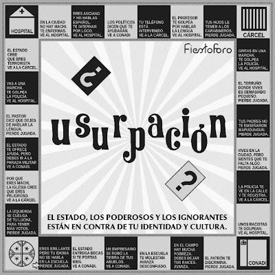 Un juego como la gran capital o monopoly, pero donde se representan una serie de situaciones cotidianas de discriminación contra el pueblo mapuche.