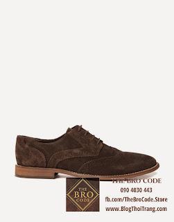 Giày ASOS Wingtip Da Lộn Màu Nâu | ASOS Full Brogue Shoes Suede
