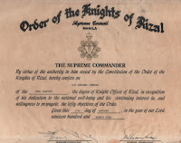 Guenther Vombergs 2nd Order from the knights of Rizal