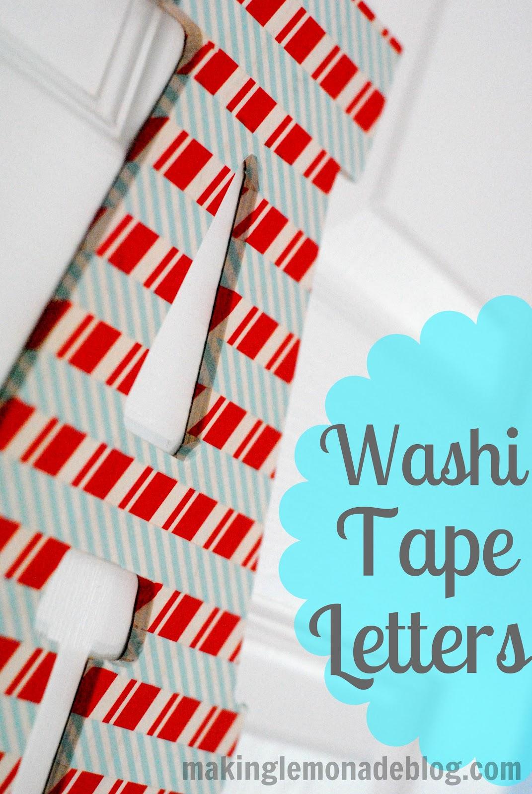 washi tape wooden letter kids craft idea