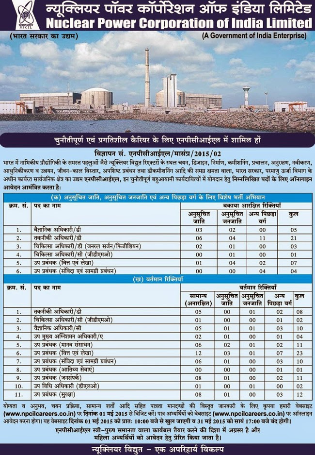 Uttarakhand Govt. Jobs 2015 in Nuclear Power Corporation of India Limited (NPCIL)