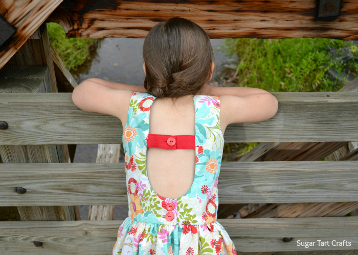 Adorable open-back of the Matinee Dress Pattern from Jennuine Design