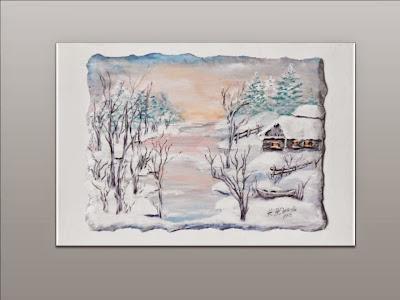 Картина  миниатюра для интерьера с Зимним пейзажемв винтажном стиле.
