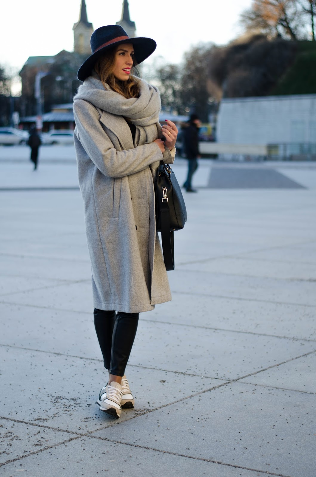 kristjaana mere vila gray wool coat white sneakers fedora winter outfit