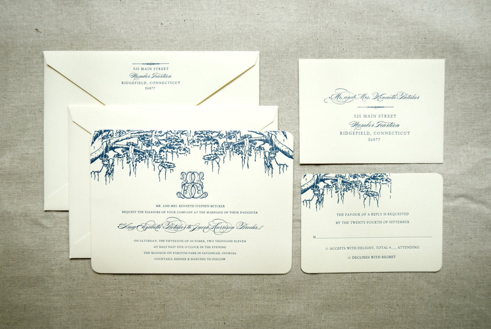 Spanish Moss Themed Wedding Invitation With Monogram (Savannah, GA)