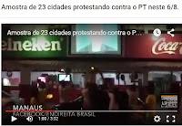 Amostra de 23 cidades protestando contra o PT neste 6/8.