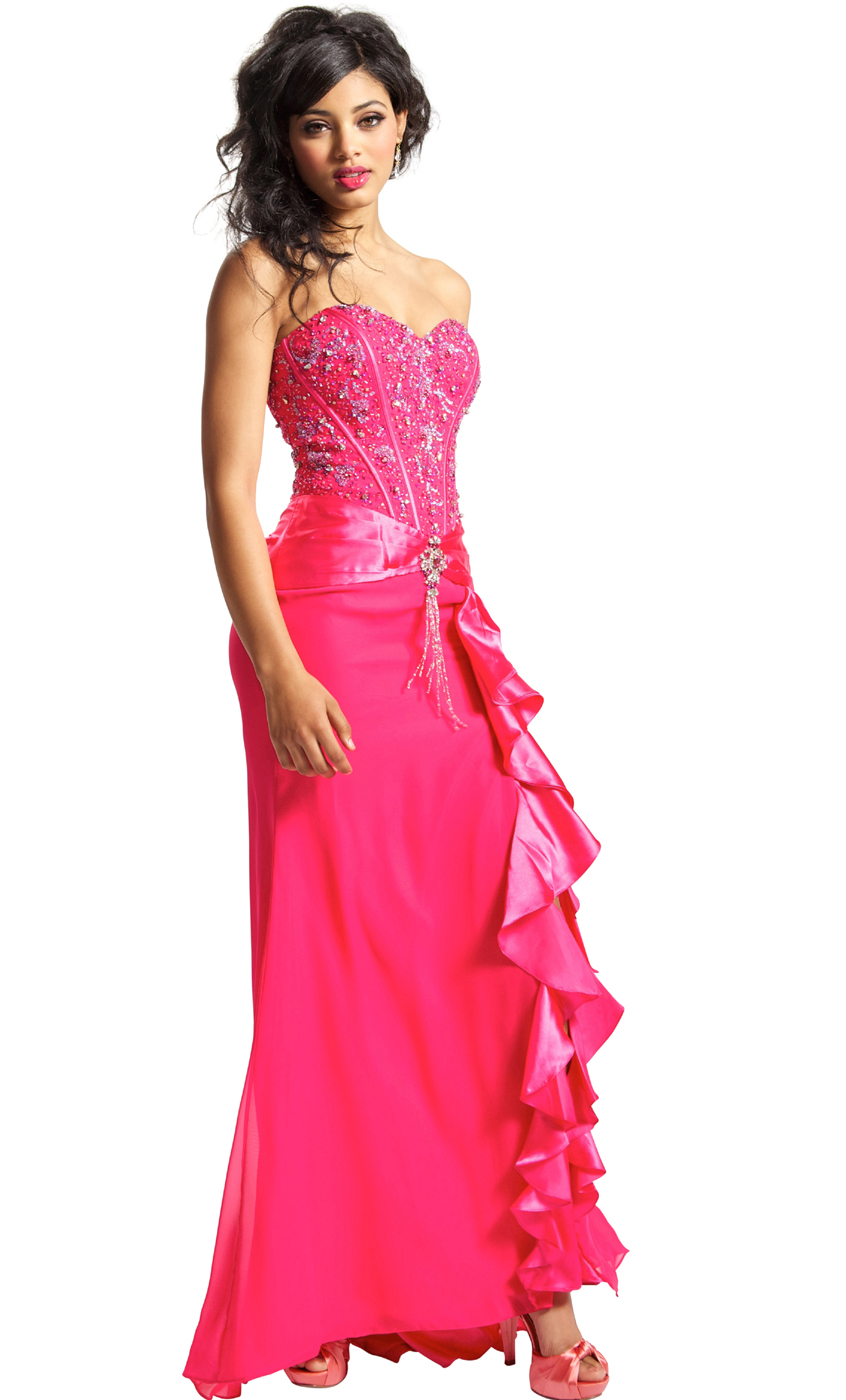 Full length formal gown with side ruffle prom dress junior plus size