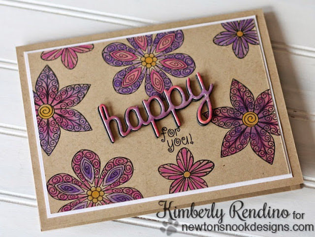 Happy for You card by Kimberly Rendino for Newton's Nook Designs | Prismacolors | Kimpletekreativity.blogspot.com