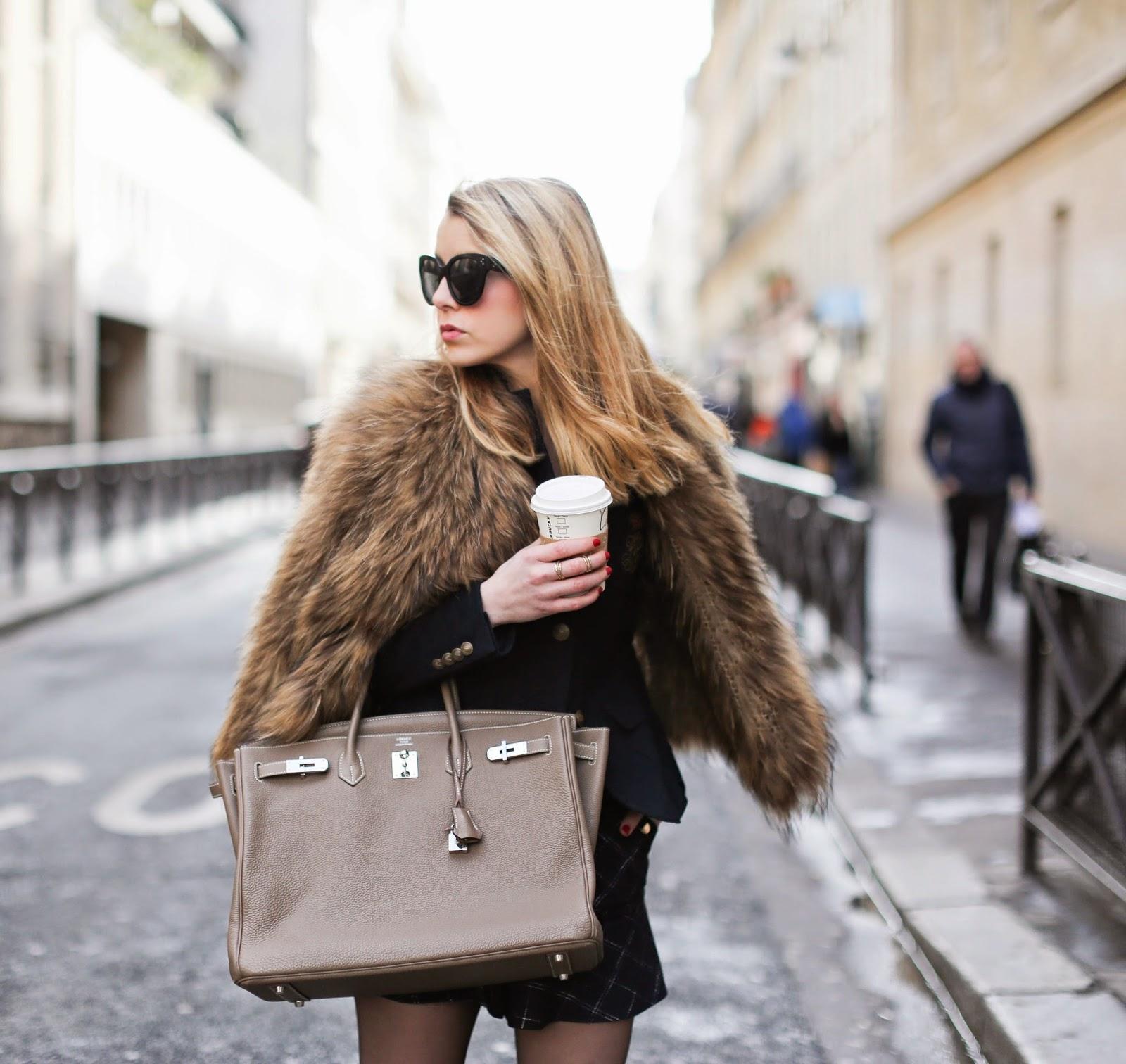 fur, birkin, hermès, chloé, ralph lauren, streetstyle, fashion blogger, paris, outfit