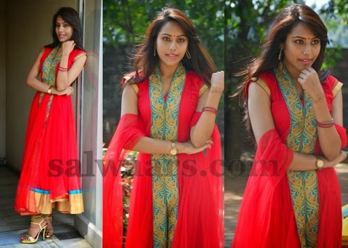 Khenisha Red Long Salwar