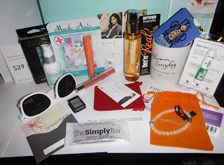 Swag Bag from Spark Sessions Revelon, Almay, smart set, haircare, skincare