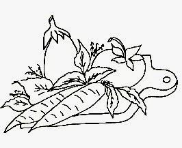 desenho tabua de carne com cenoura,tomate e beringela para pintar