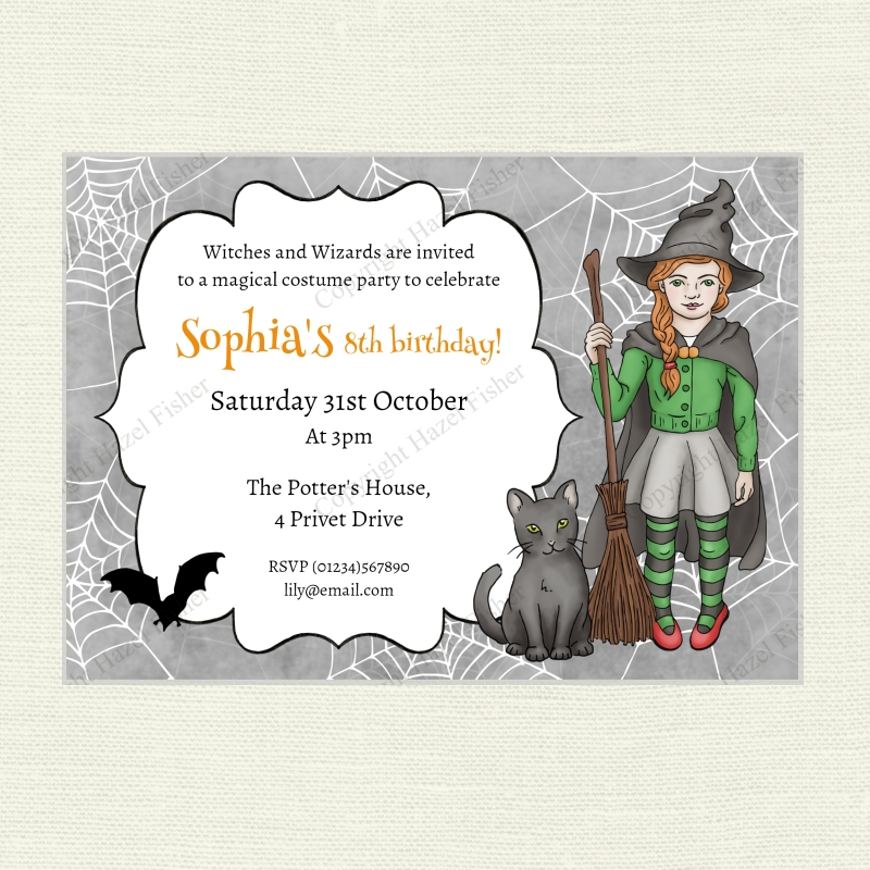 Halloween witch party printable invitation hazelfishercreations