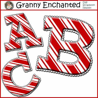 Free Digital Scrapbook Candy Cane Alphabet 114