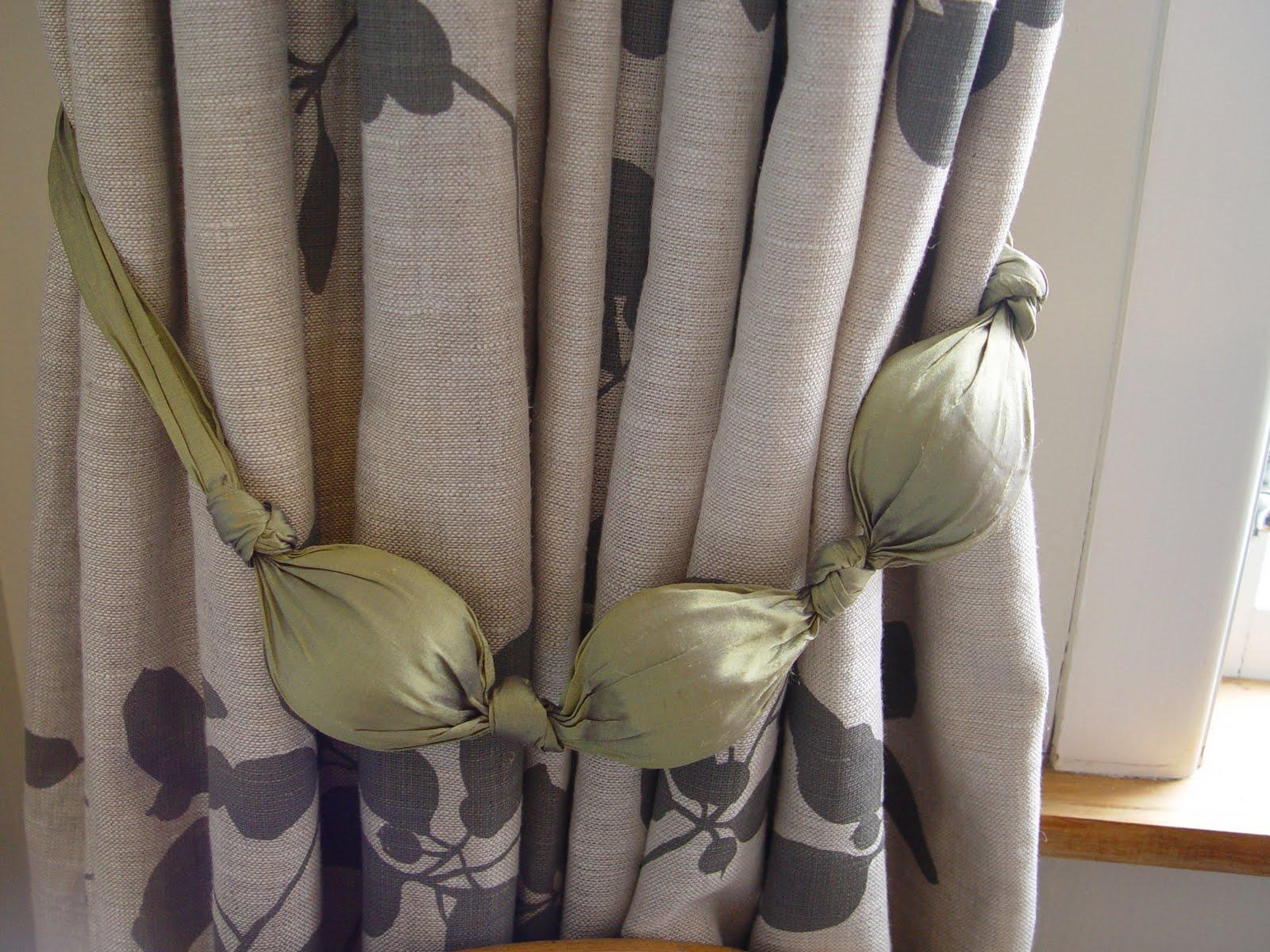 Handmade Silk Tiebacks With Printed Linen Curtains