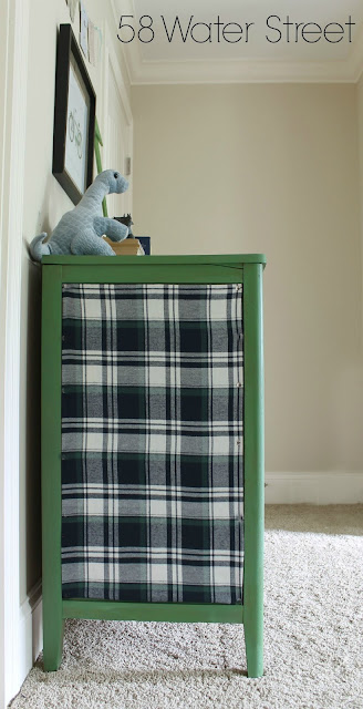 painted furniture, furniture makeover, plaid, stripes, hardware