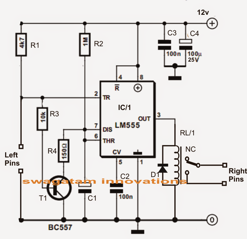 input trigger synchronized monostable timer circuit using ic 555