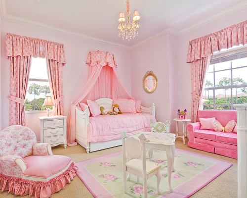 Bedroom with pink curtains and furniture toddler beds for girls jpg