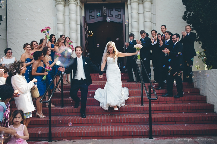 """bride and groom after ceremony at presidio chapel"""