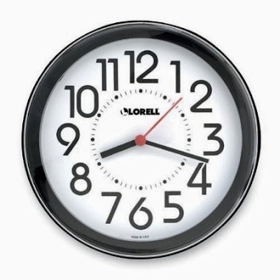 Lorell Wall Clock, 9 in., Arabic Numerals, White Dial/Black Frame