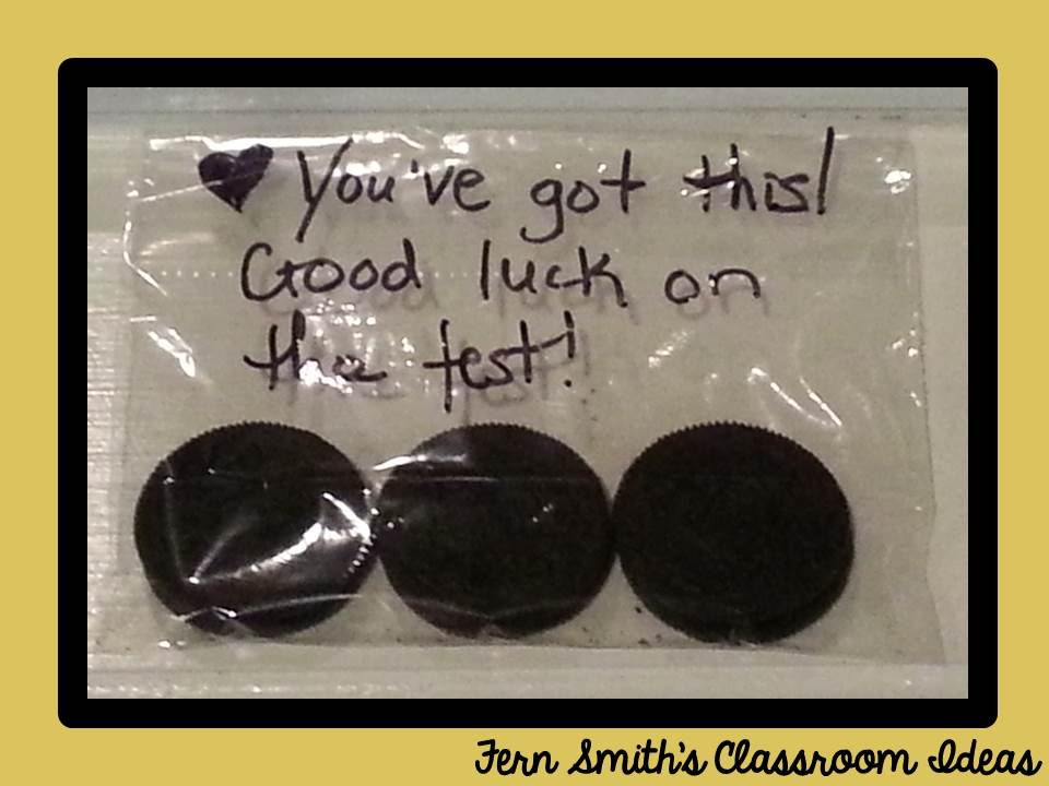 Fern Smith's Classroom Ideas You Oughta Know About Blog Hop with Encouraging Snack Messages for Test Taking Days!